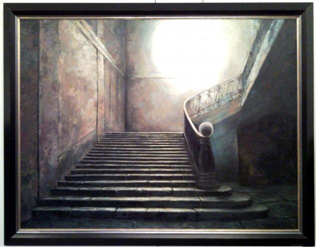 Vladímír borůvka , ak. mal. Světlo na schodech, rok 2009, olej na plátně